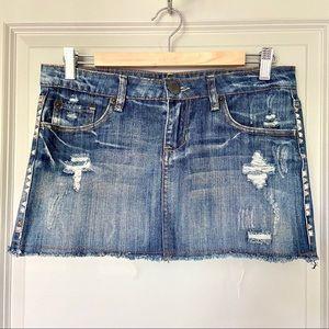 🌻 {3 for $25} Distressed Denim Mini Skirt w Studs